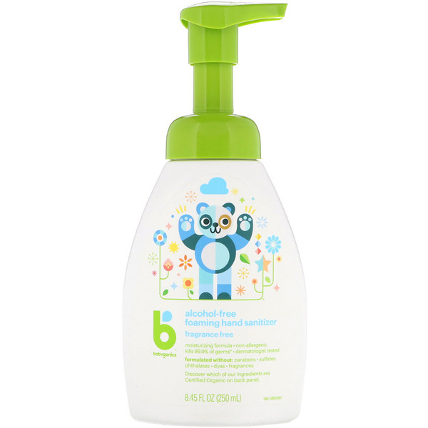 BabyGanics, Alcohol-Free, Foaming Hand Sanitizer, Fragrance Free, 8.45 fl oz (250 ml) (Discontinued Item)
