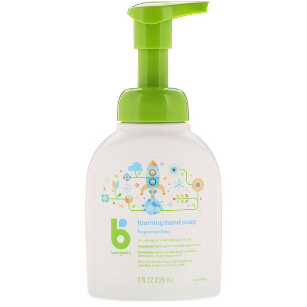 BabyGanics, Foaming Hand Soap, Fragrance Free, 8 fl oz (236 ml) (Discontinued Item)