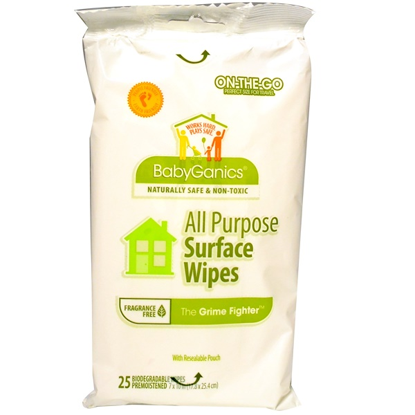 BabyGanics, The Grime Fighter, All Purpose Surface Wipes, Fragrance Free, 25 Wipes (Discontinued Item)