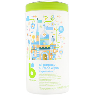 BabyGanics, All Purpose Surface Wipes, Fragrance Free, 75 Premoistened Wipes