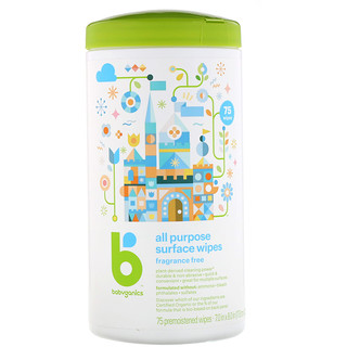 BabyGanics, All Purpose Surface Wipes, Fragrance Free, 75 Premoistened Wipes