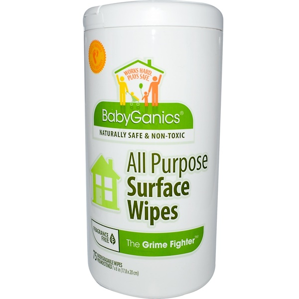 BabyGanics, The Grime Fighter, All Purpose Surface Wipes, Fragrance Free, 75 Wipes, 7 x 8 in  Each (Discontinued Item)