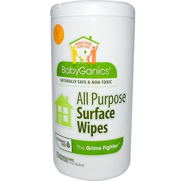 BabyGanics, Истребитель грязи, универсальные салфетки для чистки поверхностей, без запаха, 75 салфеток 18 x 20 см