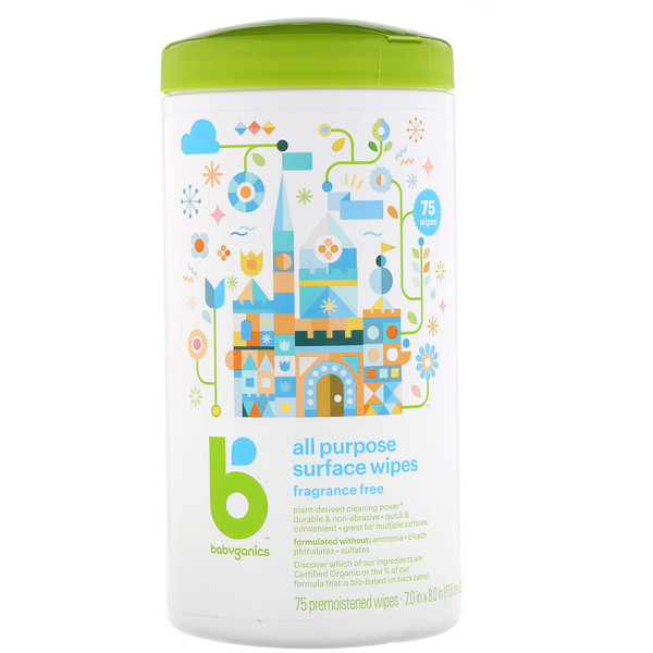 BabyGanics, All Purpose Surface Wipes, Fragrance Free, 75 Premoistened Wipes (Discontinued Item)