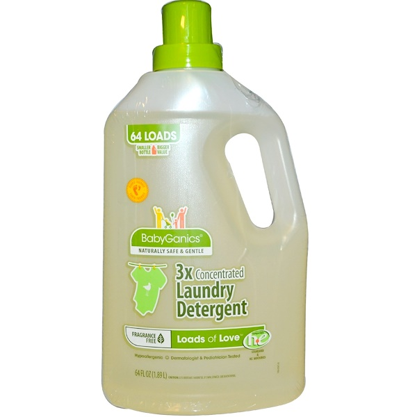 BabyGanics, Loads of Love, 3x Concentrated Laundry Detergent, Fragrance Free, 64 fl oz (1.89 l) (Discontinued Item)