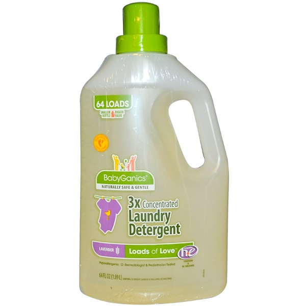 BabyGanics, Loads of Love, 3x Concentrated Laundry Detergent, Lavender, 64 fl oz (1.89 l) (Discontinued Item)