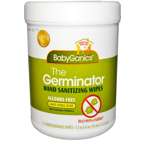 BabyGanics, The Germinator, Hand Sanitizer Wipes, Light Citrus Scent, 175 Wipes, (7.5 in x 6 in) Each  (Discontinued Item)