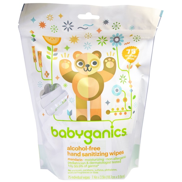 BabyGanics, Hand Sanitizing Wipes, Alcohol Free, Mandarin, 75 On-the-Go Wipes (Discontinued Item)