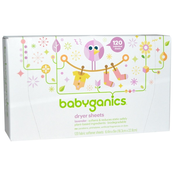 BabyGanics, Dryer Sheets, Lavender, 120 Fabric Softener Sheets (Discontinued Item)