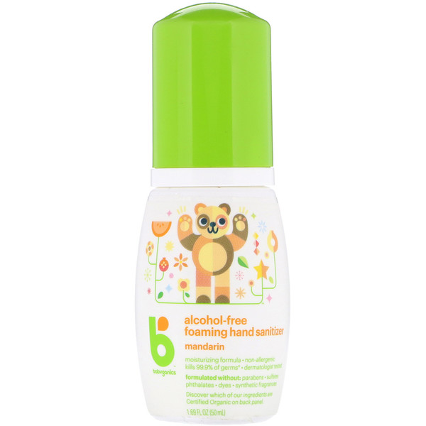 BabyGanics, Alcohol-Free, Foaming Hand Sanitizer, Mandarin, 1.69 oz (50 ml)