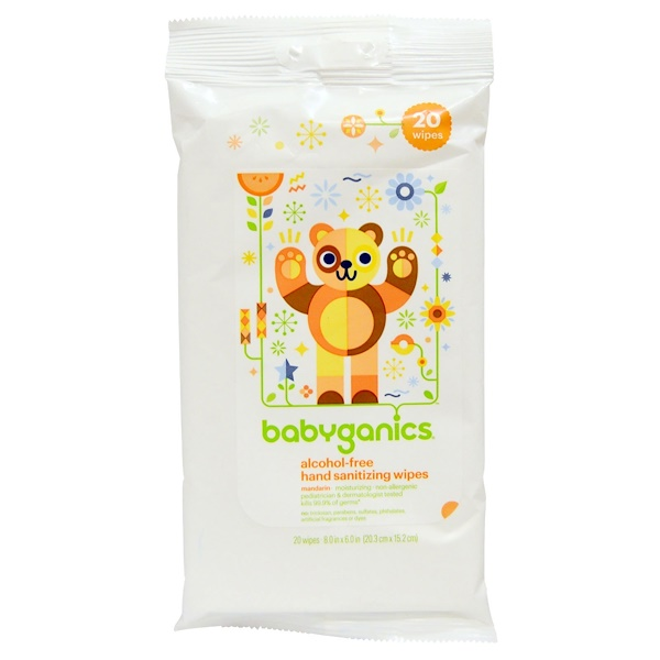 BabyGanics, Hand Sanitizing Wipes, Alcohol Free, Mandarin, 20 Wipes