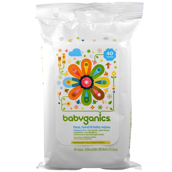BabyGanics, Face, Hand & Baby Wipes, Fragrance Free, 40 Wipes, (8.0 in x 6.0 in) Each (Discontinued Item)