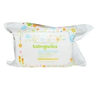 BabyGanics, مسحات الوجه واليد والطفل، خالية من العطور، 100 مسحة