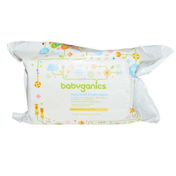 BabyGanics, Face, Hand & Baby Wipes, Fragrance Free, 100 Wipes (Discontinued Item)