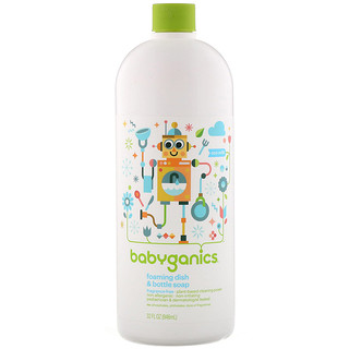 BabyGanics, Foaming Dish & Bottle Soap, Eco Refill, Fragrance Free, 32 fl oz (946 ml)