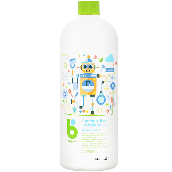BabyGanics, Foaming Dish & Bottle Soap, Fragrance Free, 32 fl oz (946 ml) (Discontinued Item)