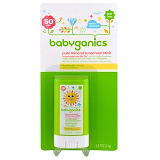 BabyGanics, Pure Mineral Sunscreen Stick, SPF 50+, 0.47 oz (13 g)