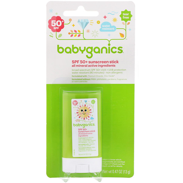 BabyGanics, Sunscreen Stick, SPF 50+, 0.47 oz (13 g) (Discontinued Item)