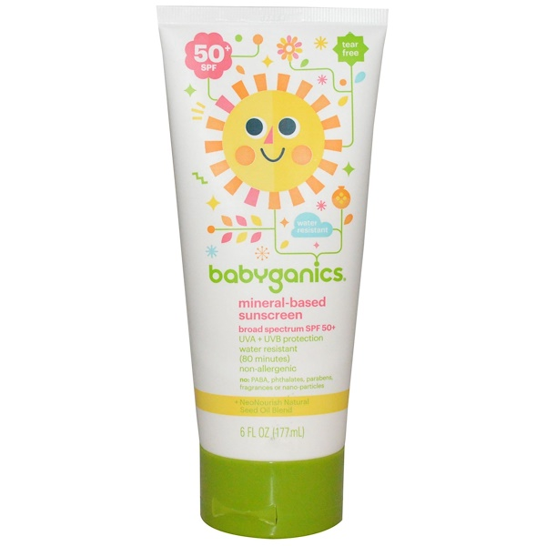BabyGanics, Mineral-Based Sunscreen, 50+ SPF, 6 fl oz (177 ml)