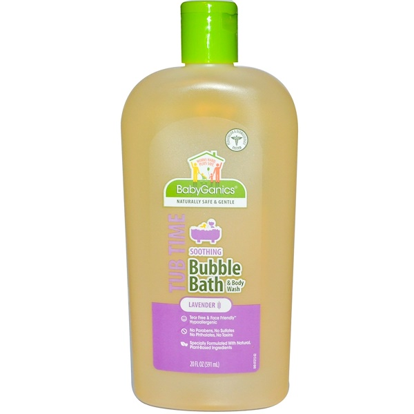BabyGanics, Tub Time, Soothing Bubble Bath & Body Wash, Lavender, 20 fl oz (591 ml) (Discontinued Item)