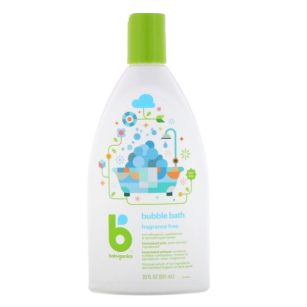BabyGanics, Bubble Bath, Fragrance Free, 20 fl oz (591 ml) (Discontinued Item)