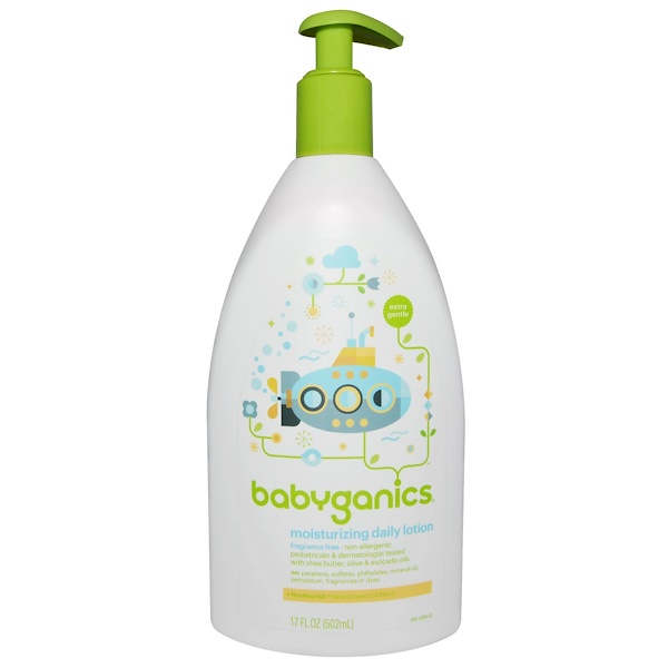 BabyGanics, Moisturizing Daily Lotion, Fragrance Free, 17 fl oz (502 ml)