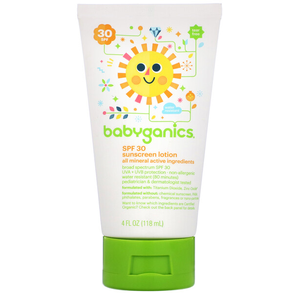 BabyGanics, Sunscreen Lotion, SPF 30, 4 fl oz (118 ml) (Discontinued Item)