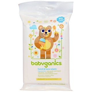 BabyGanics, Lenços para Rosto e Mãos, Sem Fragrância, 30 Lenços
