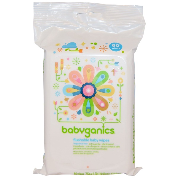 BabyGanics, Flushable Baby Wipes, Fragrance Free, 60 Wipes (Discontinued Item)