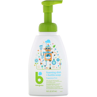BabyGanics, Foaming Dish + Bottle Soap, Fragrance Free, 16 fl oz (473 ml)
