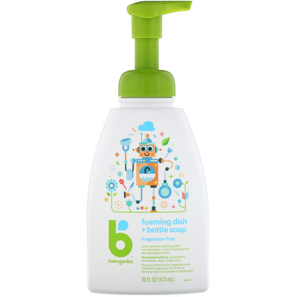 BabyGanics, Foaming Dish + Bottle Soap, Fragrance Free, 16 fl oz (473 ml) (Discontinued Item)