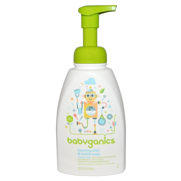 BabyGanics, Foaming Dish & Bottle Soap, Fragrance Free, 16 fl oz (473 ml)