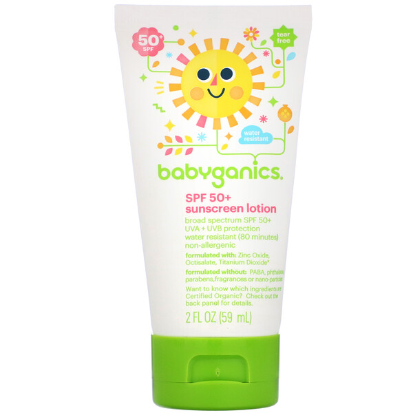BabyGanics, Sunscreen Lotion, SPF 50+, 2 fl oz (59 ml) (Discontinued Item)