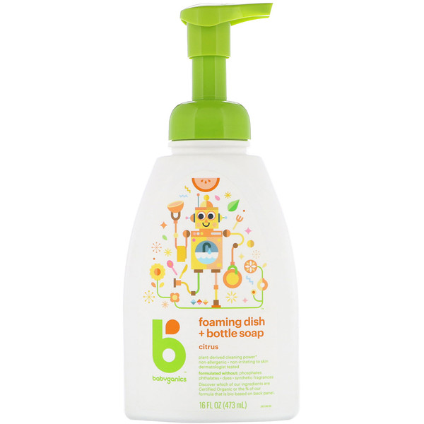 BabyGanics, Foaming Dish + Bottle Soap, Citrus, 16 fl oz (473 ml) (Discontinued Item)