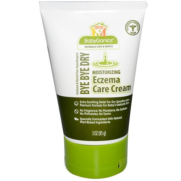 BabyGanics, Bye Bye Dry, Moisturizing Eczema Care Cream, Fragrance Free, 3 oz (85 g) (Discontinued Item)