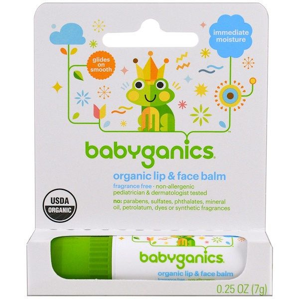 BabyGanics, Organic Lip & Face Balm, 0.25 oz (7 g) (Discontinued Item)