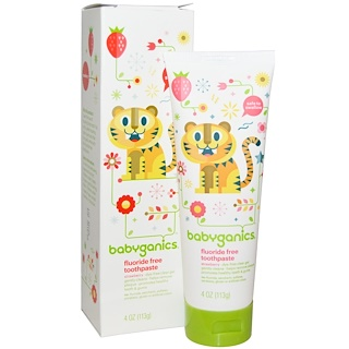 BabyGanics, Fluoride Free Toothpaste, Strawberry, 4 oz (113 g)