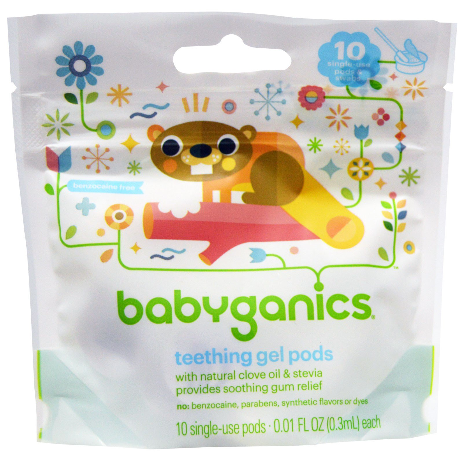 BabyGanics, Teething Gel Pods, 10 Single-Use Pods, 0 01 fl oz (0 3