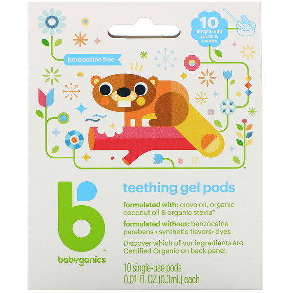 BabyGanics, Teething Gel Pods, 10 Single-Use Pods, 0.01 fl oz (0.3 ml) Each (Discontinued Item)