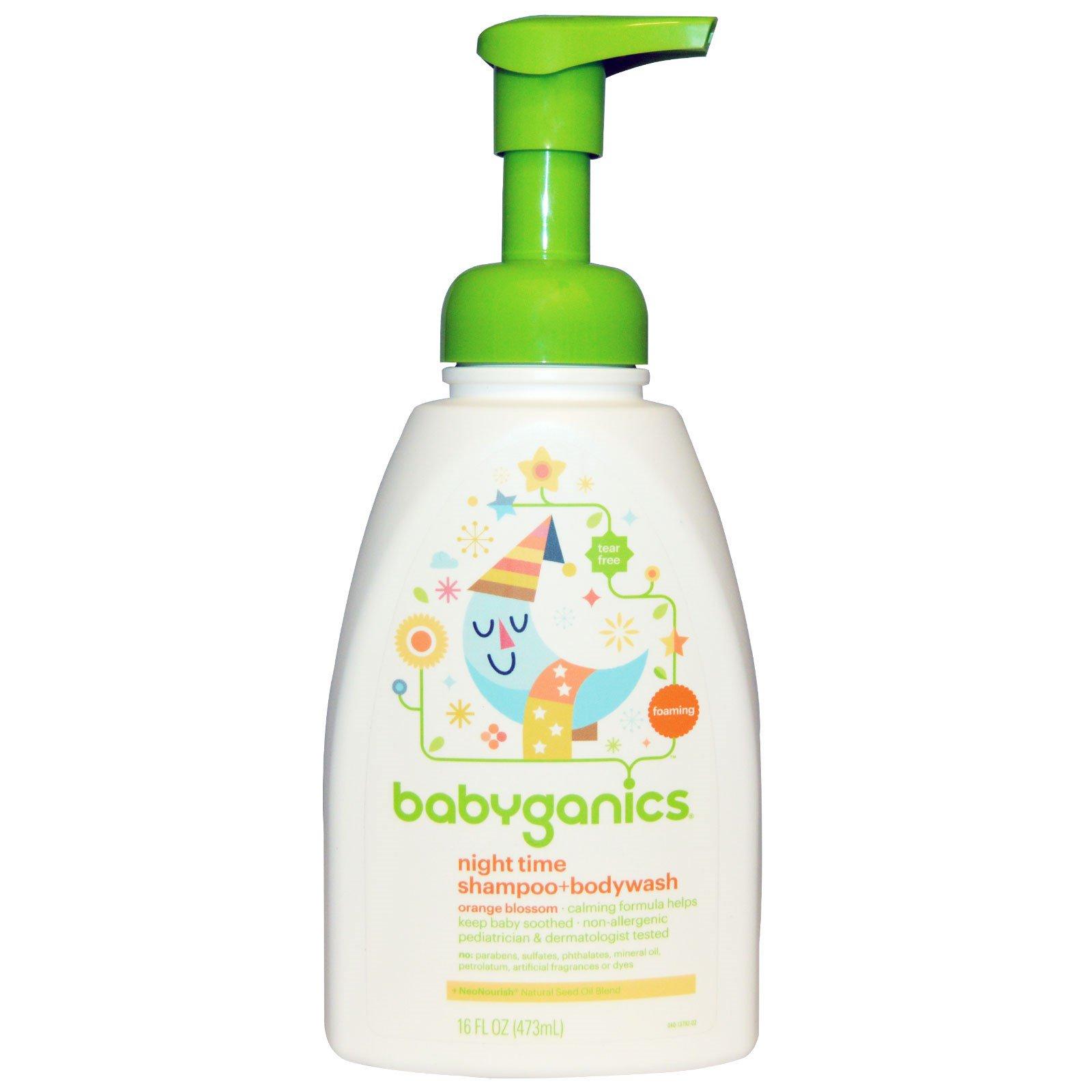 BabyGanics, Вечерний шампунь + средство мытья тела, цветок апельсина, 16 жидких унций (473 мл)