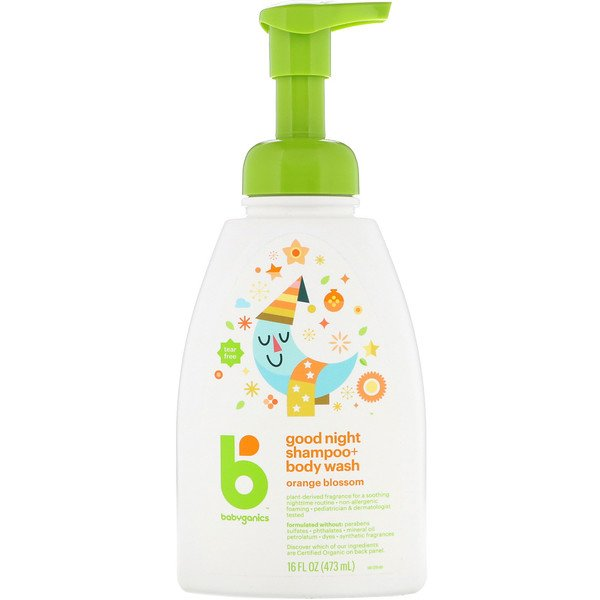 BabyGanics, Good Night Shampoo + Body Wash, Orange Blossom, 16 fl oz (473 ml) (Discontinued Item)