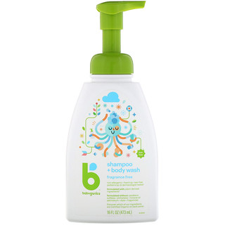 BabyGanics, Shampoo + Bodywash, Fragrance Free, 16 fl oz (473 ml)