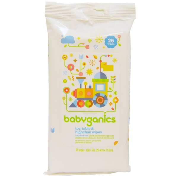 BabyGanics, Toy, Table & Highchair Wipes, Fragrance Free, 25 Wipes