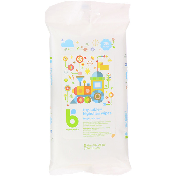 BabyGanics, Toy, Table + Highchair Wipes, Fragrance Free, 25 Wipes (Discontinued Item)
