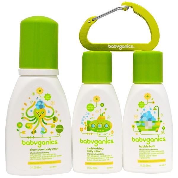 BabyGanics, Bathtime Essentials, Chamomile Verbena, 3 Piece Set (Discontinued Item)