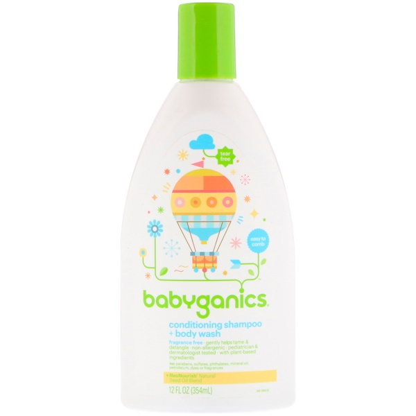 BabyGanics, Conditioning Shampoo + Body Wash, Fragrance Free, 12 fl oz (354 ml) (Discontinued Item)