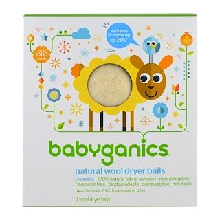 BabyGanics, Natural Wool Dryer Balls, 3 Wool Dryer Balls