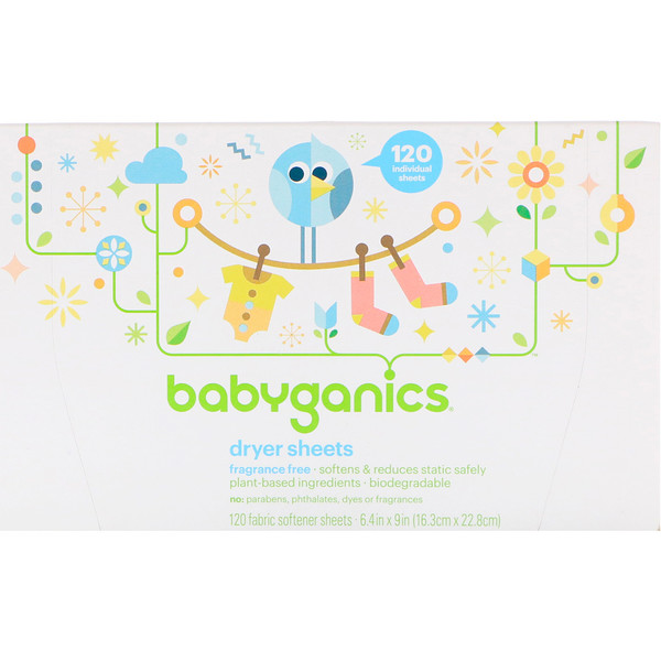 BabyGanics, Dryer Sheets, Fragrance Free, 120 Fabric Softener Sheets (Discontinued Item)