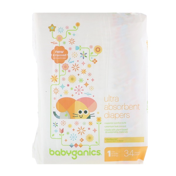 BabyGanics, Ultra Absorbent Diapers, Size 1, 8-14 lbs (4-6 kg), 34 Diapers (Discontinued Item)