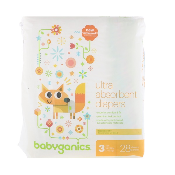 BabyGanics, Ultra Absorbent Diapers, Size 3, 16-28 lbs (7-13 kg), 28 Diapers (Discontinued Item)